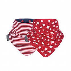Σετ 2 Σαλιάρες Cheeky Chompers Red STARS  & Stripes